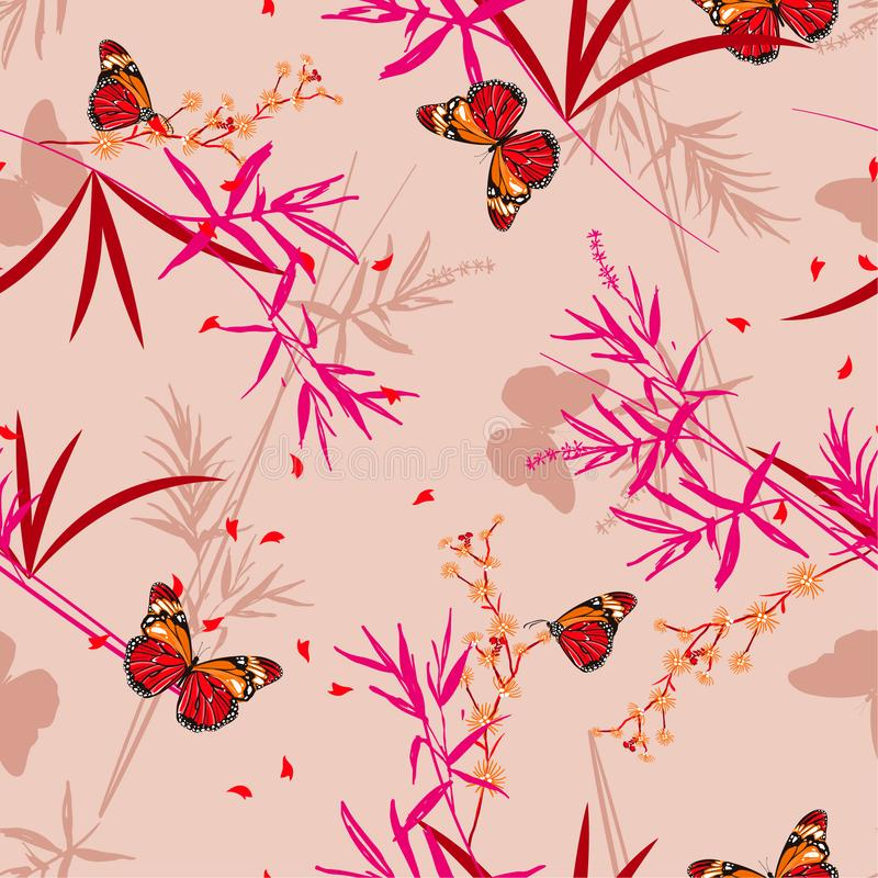 Illustrazione disegnata a mano di vettore Modello senza cuciture floreale con le farfalle orientali nel giardino di bambù Progett illustrazione vettoriale