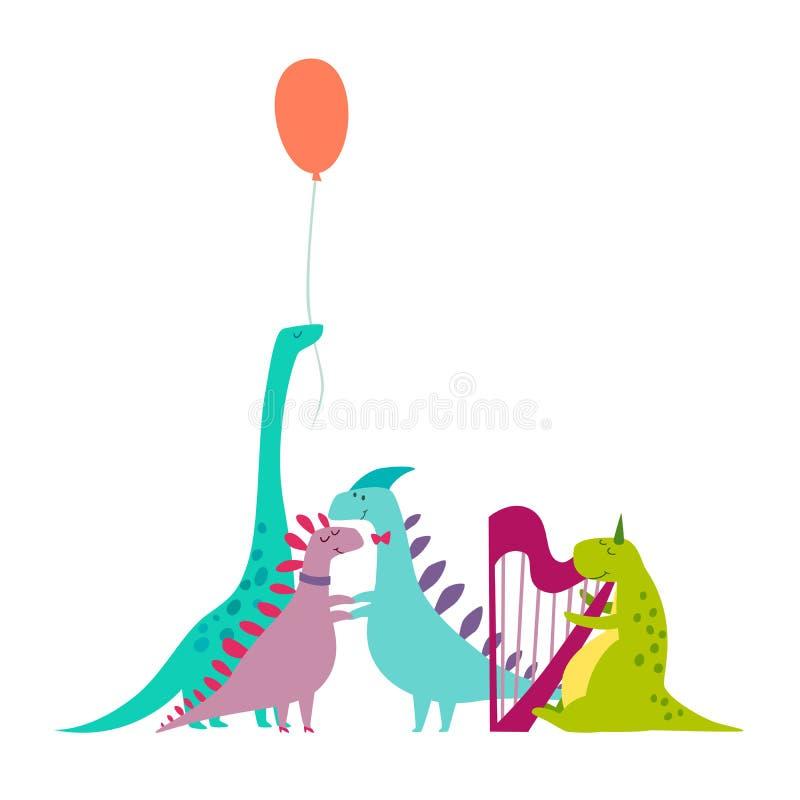 Illustrazione disegnata a mano di vettore di scarabocchio del partito di Dinosaurus illustrazione di stock