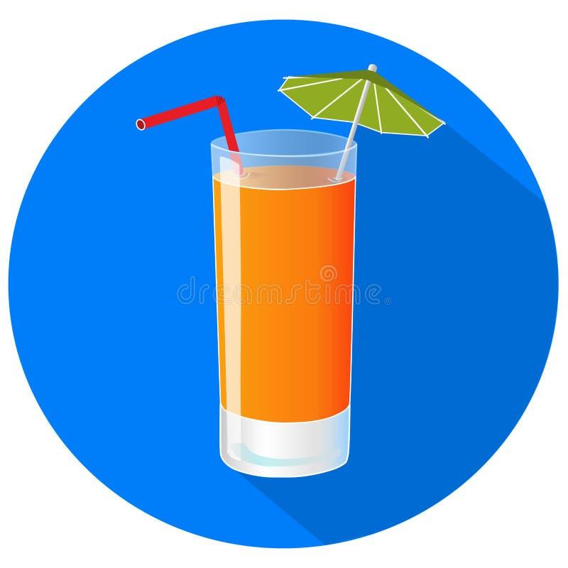 Illustrazione disegnata a mano di vettore di succo d'arancia di recente squezed con ombra lunga royalty illustrazione gratis