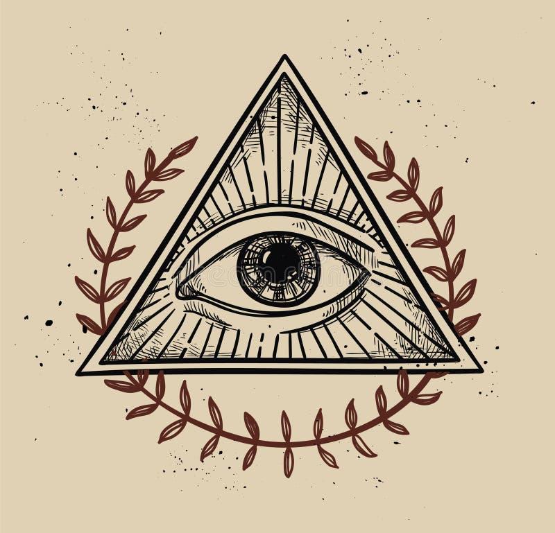 Illustrazione disegnata a mano di vettore - tutto il simbolo vedente della piramide dell'occhio illustrazione di stock