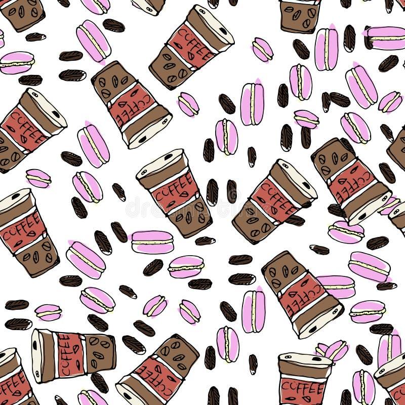 Illustrazione disegnata a mano Maccheroni, caffè, dolci, chicchi di caffè royalty illustrazione gratis