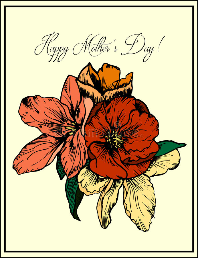 Illustrazione disegnata a mano Mazzo dei fiori e dei papaveri rossi Cartolina d'auguri Giorno della madre felice illustrazione vettoriale