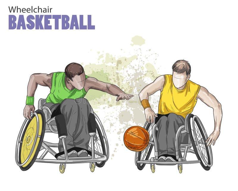 Illustrazione disegnata a mano Pallacanestro di sedia a rotelle Sport di schizzo di vettore Figura grafica degli atleti disabili  royalty illustrazione gratis