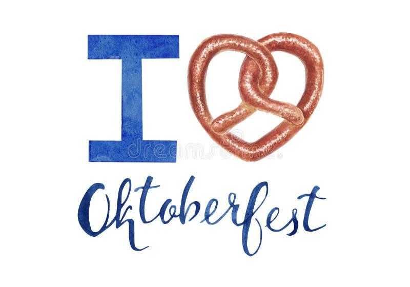 Illustrazione disegnata a mano per Oktoberfest con la ciambellina salata ed iscrizione amo più oktoberfest illustrazione vettoriale