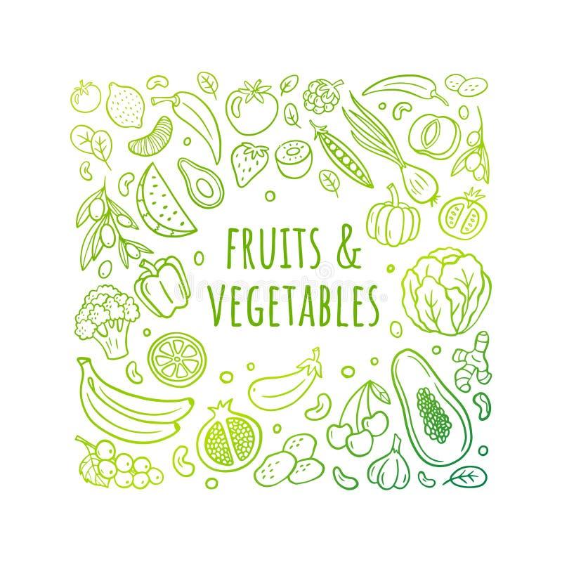 Illustrazione disegnata a mano piacevole di vettore con la frutta, le verdure ed il testo Tema sano dell'alimento in uno stile or illustrazione vettoriale