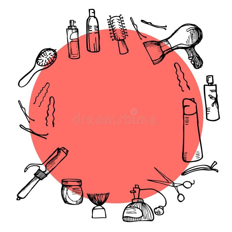 Illustrazione disegnata a mano - strumenti di lavoro di parrucchiere (forbici, pettini, disegnanti) royalty illustrazione gratis