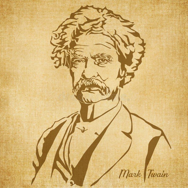 Illustrazione disegnata Mark Twain Digital Hand illustrazione vettoriale