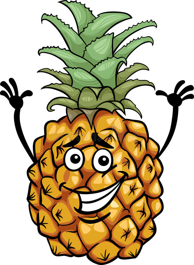 Illustrazione divertente del fumetto della frutta dell'ananas illustrazione di stock