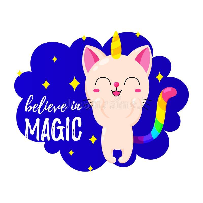 Illustrazione divertente del fumetto di vettore Kitten Unicorn Gatto magico di scarabocchio Modello per la stampa, progettazione royalty illustrazione gratis