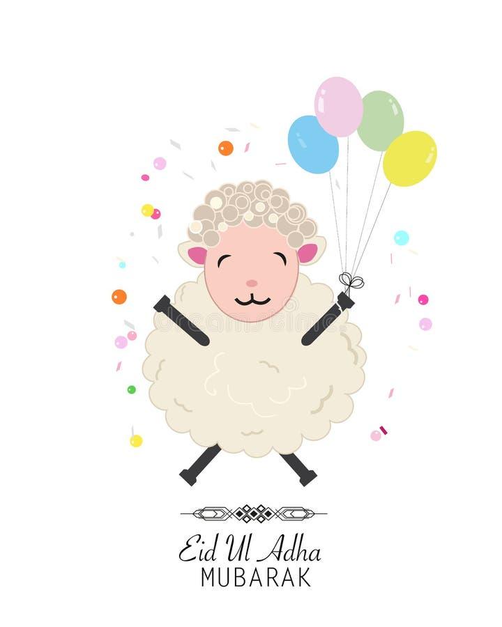 Illustrazione divertente delle pecore Festival islamico del sacrificio, cartolina d'auguri di celebrazione di Eid al-Adha illustrazione di stock