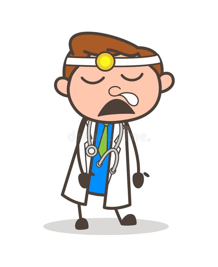 Illustrazione divertente di vettore del dottore Running Nose Expression del fumetto royalty illustrazione gratis