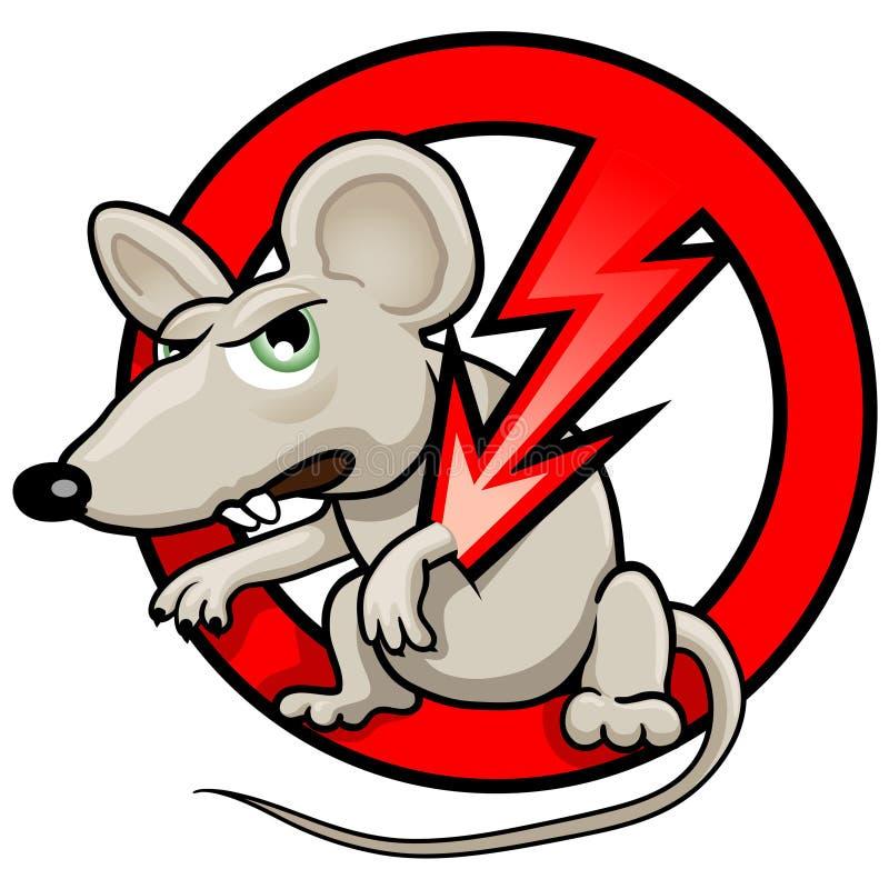 Illustrazione divertente di vettore: NESSUN simbolo dei RATTI illustrazione vettoriale