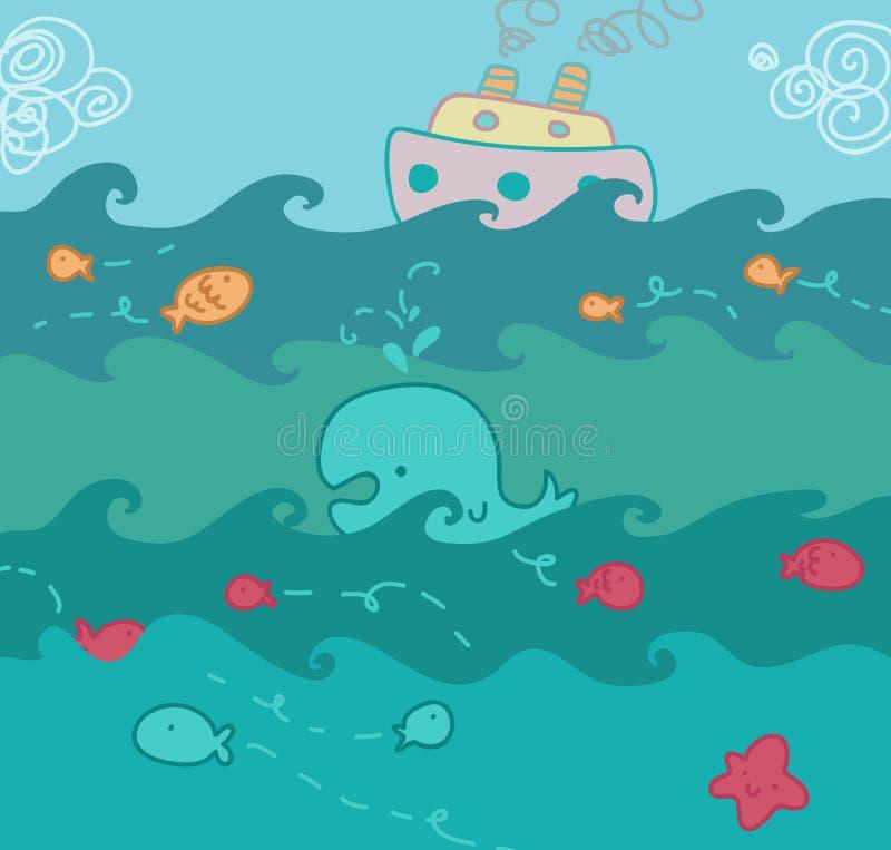 Illustrazione divertente di vista sul mare illustrazione vettoriale