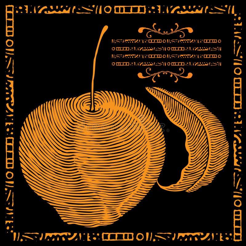 Illustrazione dorata del foglio e della mela royalty illustrazione gratis