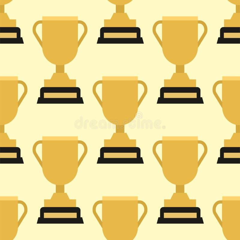 Illustrazione dorata del modello della tazza di campione del trofeo di vettore del vincitore dell'oro del premio di sport vittori illustrazione di stock