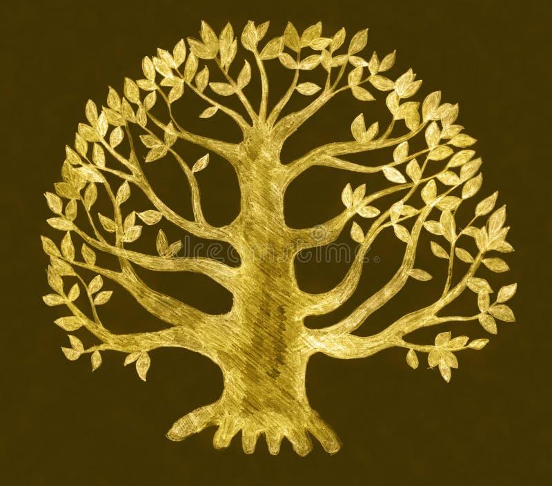 Illustrazione dorata dell'albero, abbozzo illustrazione di stock