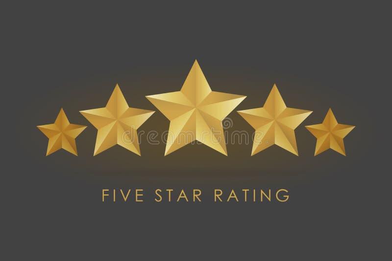 Illustrazione dorata della stella di valutazione cinque nel fondo nero grigio illustrazione vettoriale