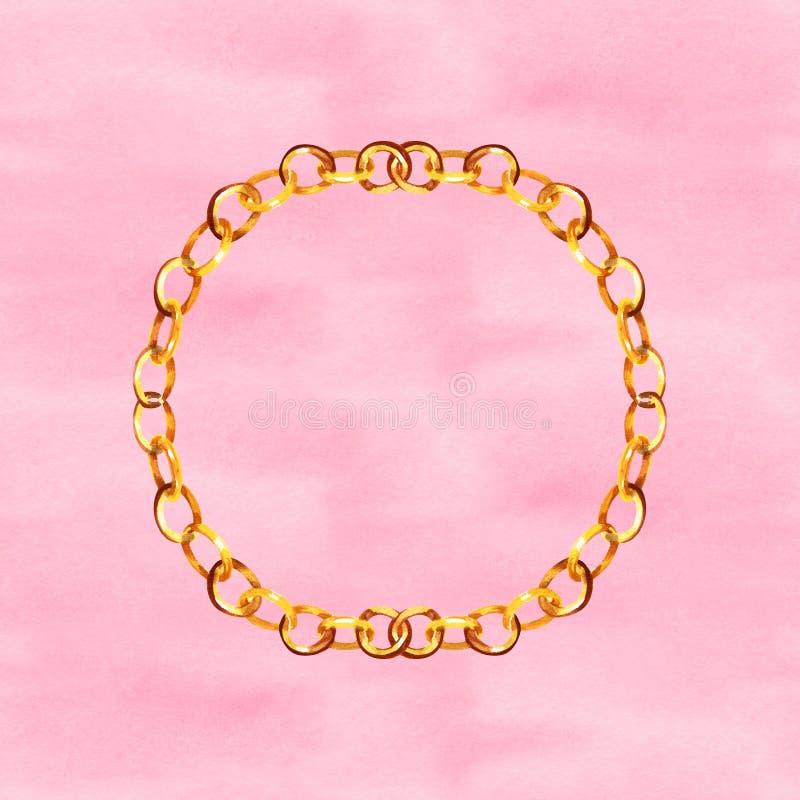 Illustrazione dorata di fascino delle cinghie a catena in un fondo di stile dell'acquerello Gli accessori dei vestiti hanno messo immagine stock