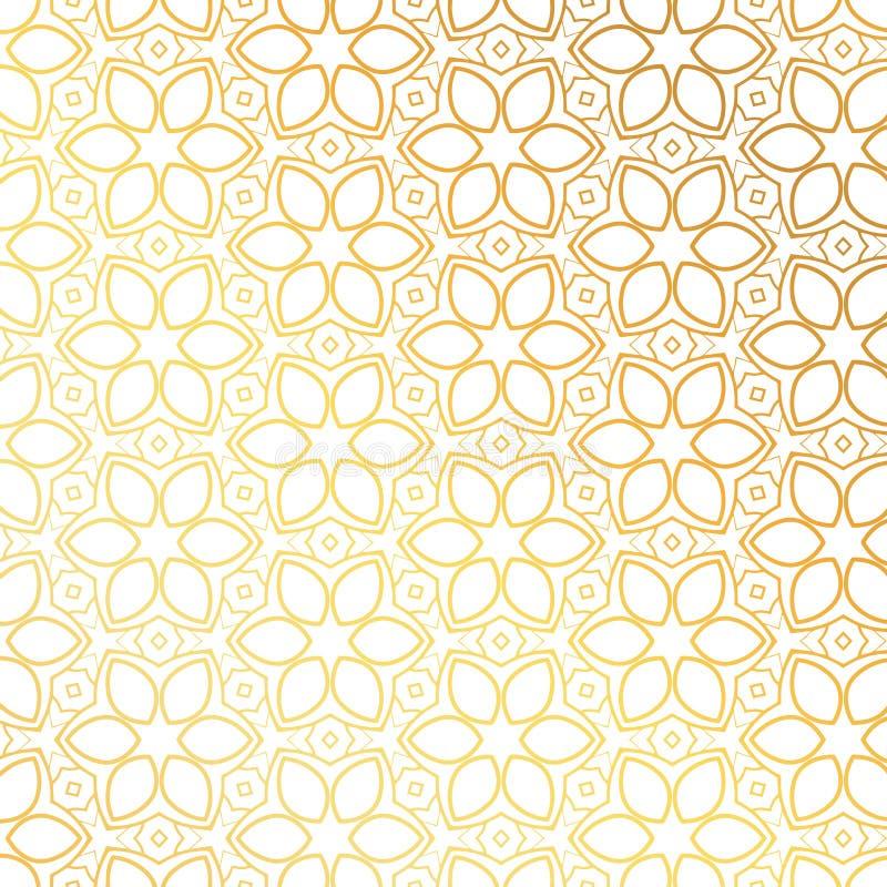 Illustrazione dorata di vettore del fondo del modello di fiore royalty illustrazione gratis