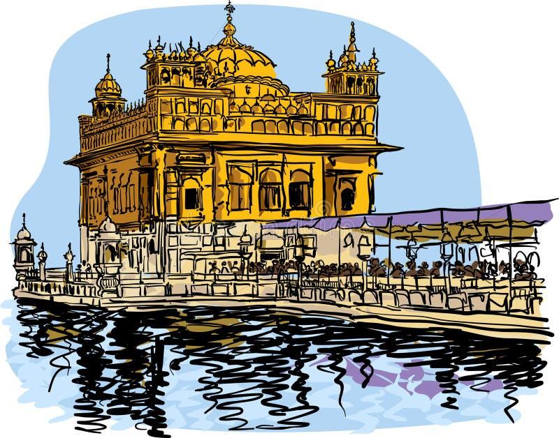 Illustrazione dorata di vettore del tempio per le progettazioni illustrazione vettoriale