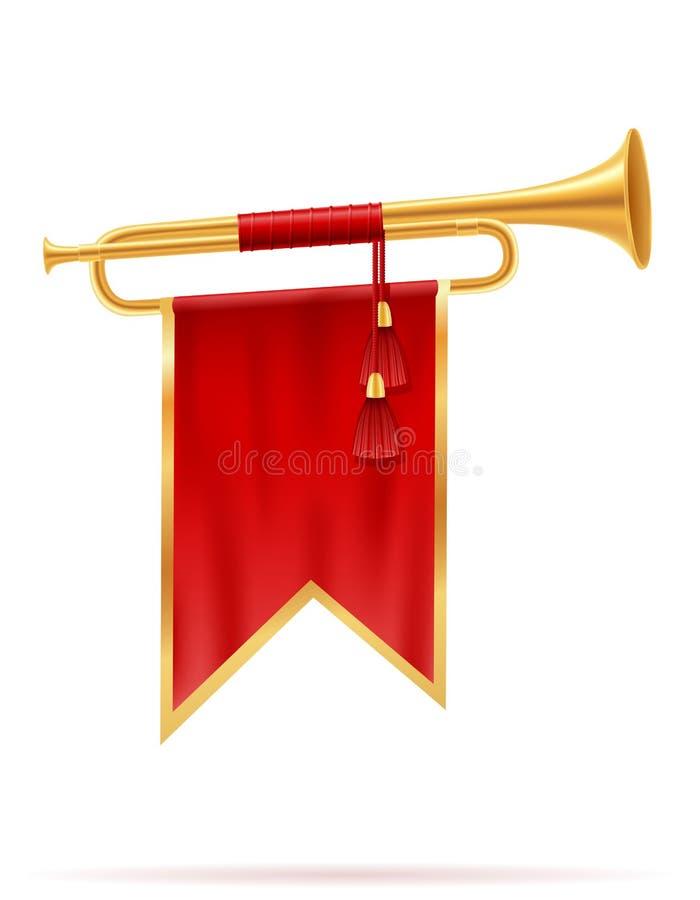 Illustrazione dorata reale di vettore del corno di re royalty illustrazione gratis