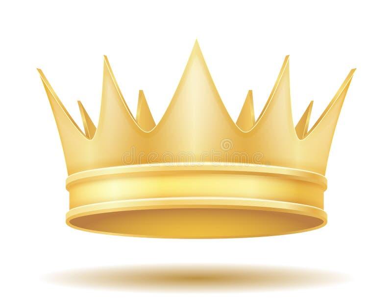 Illustrazione dorata reale di vettore della corona di re illustrazione di stock