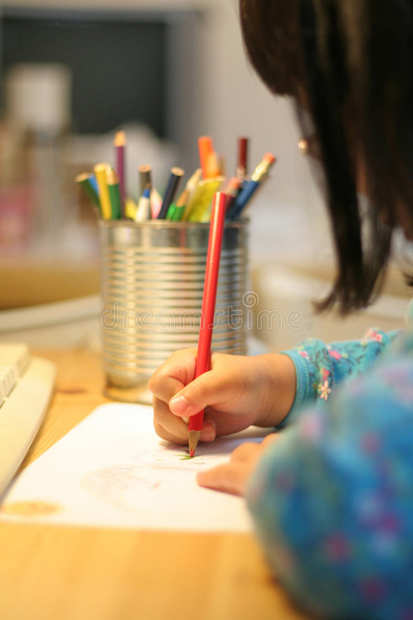 Illustrazione e scrittura del bambino fotografia stock libera da diritti