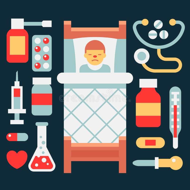 Illustrazione ed icona di malattia La malattia ed i suoi satelliti fotografia stock libera da diritti