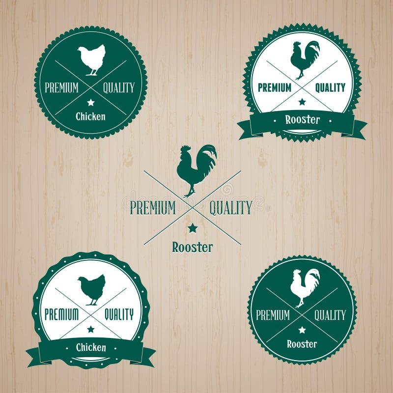 Insieme del distintivo del pollo e del gallo dell'annata royalty illustrazione gratis