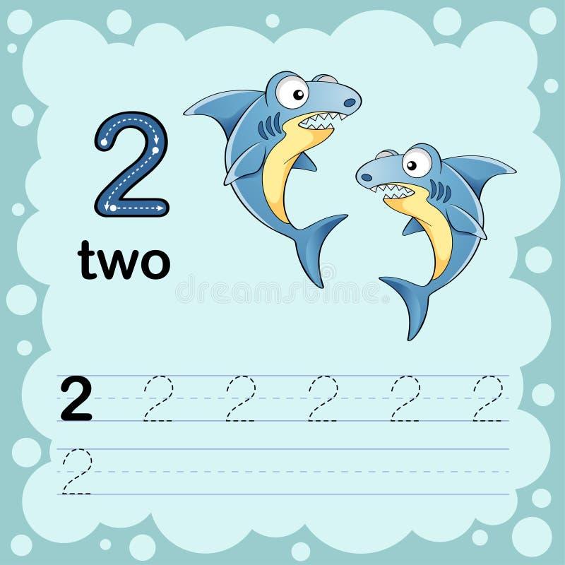 Illustrazione educativa per imparare come contare e scrivere un numero due Foglio di lavoro per l'asilo e la scuola materna Squal illustrazione di stock