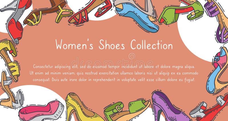 Illustrazione elegante di vettore delle calzature di paia della raccolta delle scarpe della donna alta Manifesto alla moda del ta illustrazione di stock