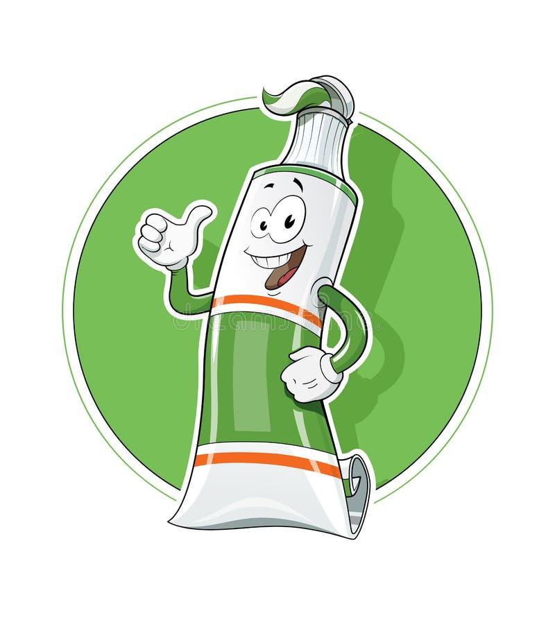 Illustrazione eps10 di vettore di approvazione di manifestazione del tubo della pasta del dente del fumetto illustrazione di stock