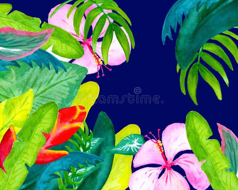 Illustrazione esotica dei fiori e delle foglie della cartolina dell'acquerello con il posto per testo illustrazione di stock