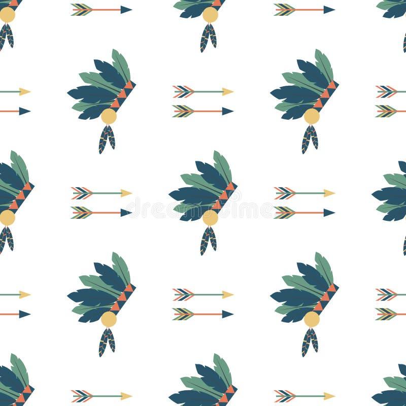 Illustrazione etnica di vettore delle frecce degli indiani di vettore del modello del fondo hinduism d'annata senza cuciture vari illustrazione di stock