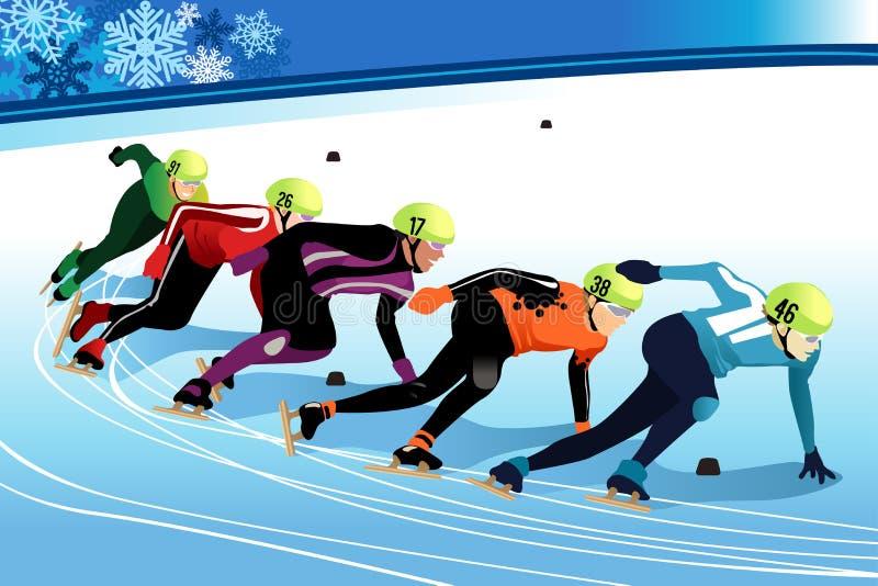 Illustrazione facente concorrenza degli atleti di pattinaggio di velocità royalty illustrazione gratis