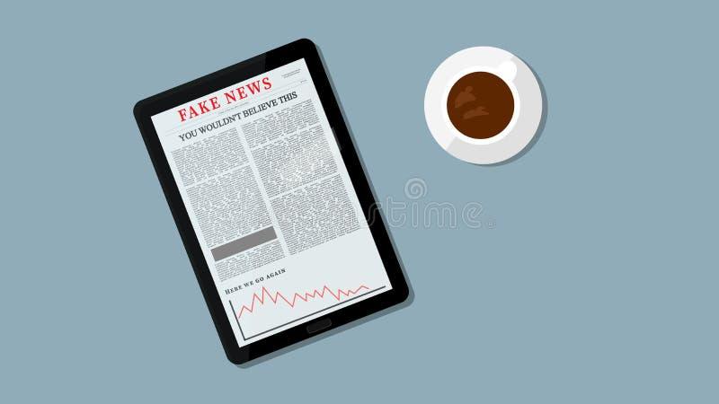 Illustrazione falsa di notizie di Internet Titolo falso sulla compressa Concetto falso leggente di notizie della gente Caffè e Ta royalty illustrazione gratis
