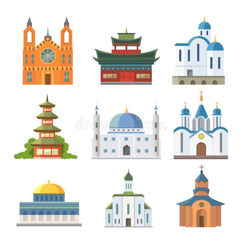 Illustrazione famosa di vettore di turismo del punto di riferimento della costruzione tradizionale del tempio della chiesa della  illustrazione di stock
