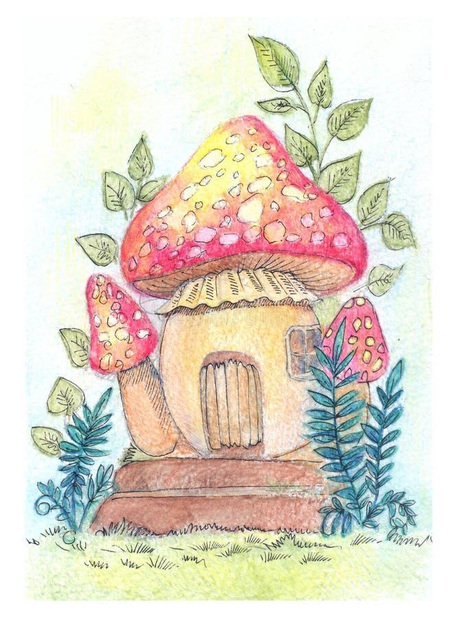 Illustrazione fantastica con il di casa fungo royalty illustrazione gratis