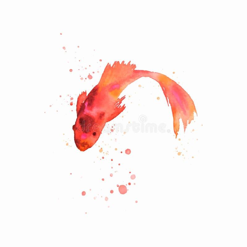 Illustrazione fatta a mano di vettore dell'opera d'arte del pesce dell'acquerello illustrazione vettoriale