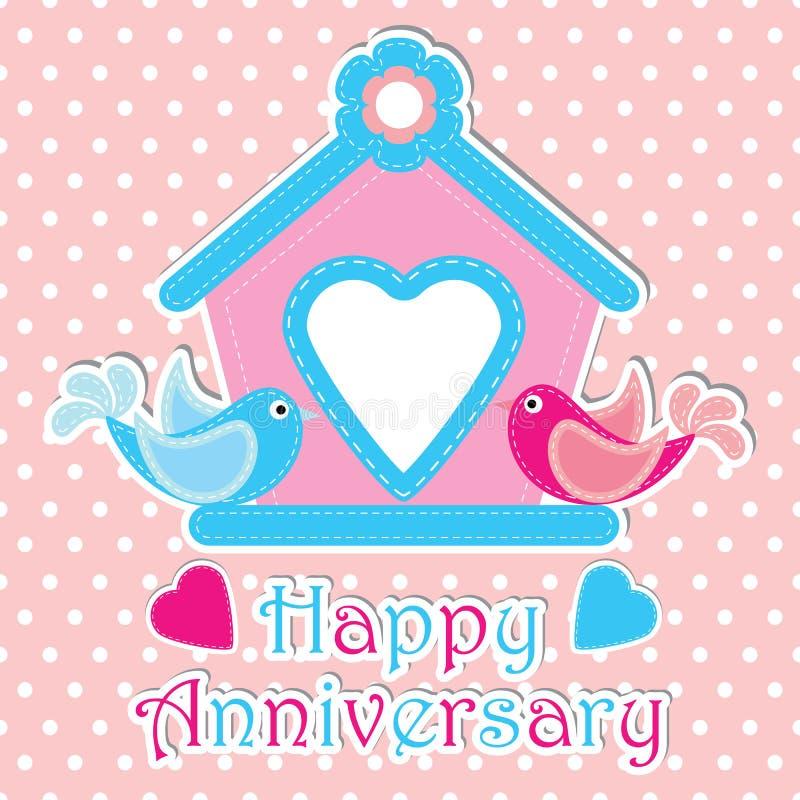 Illustrazione felice del fumetto di anniversario con gli uccelli delle coppie e gabbia rosa sul fondo del pois adatto a anniversa illustrazione di stock