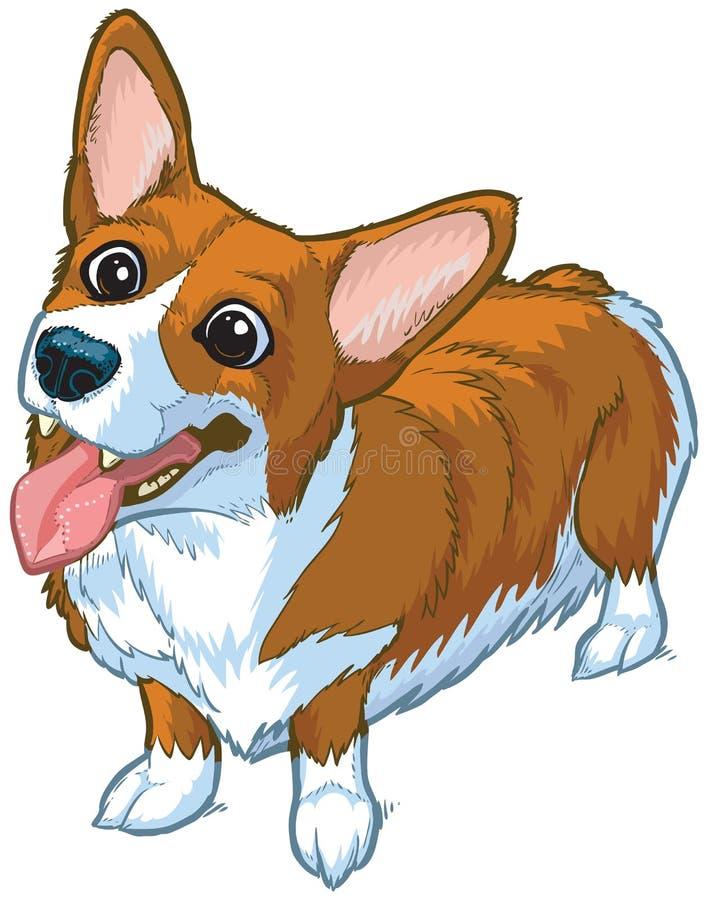 Illustrazione felice del fumetto di vettore del cane del Corgi royalty illustrazione gratis