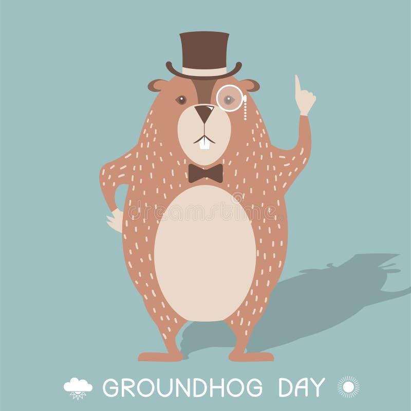 Illustrazione felice della carta di giorno della marmotta royalty illustrazione gratis