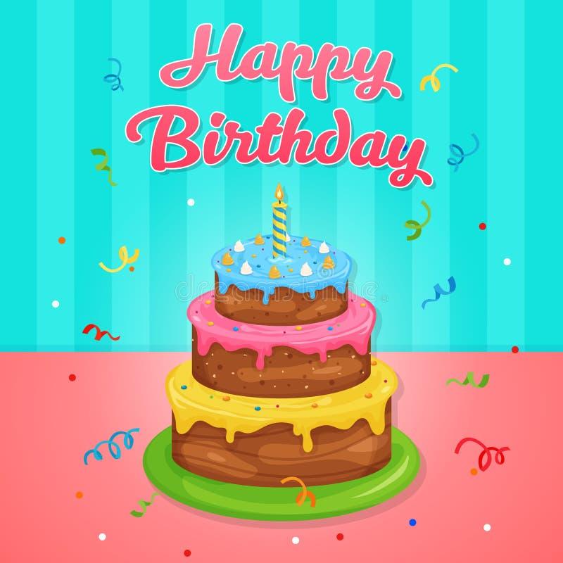 Illustrazione felice della torta di compleanno alla festa di compleanno illustrazione vettoriale