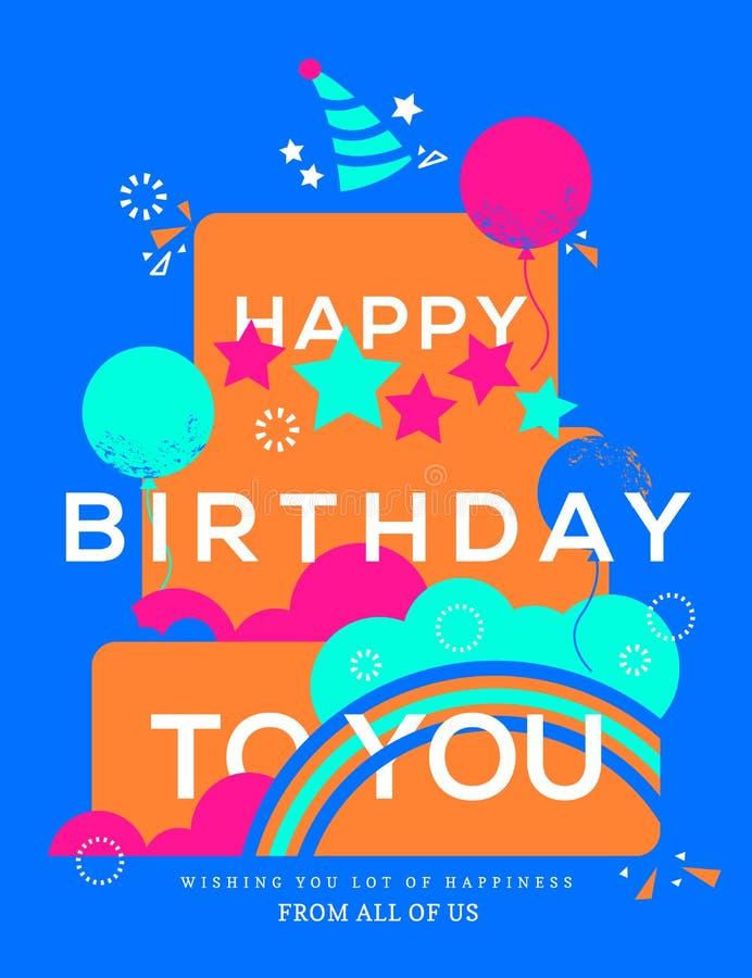 Illustrazione felice della torta di compleanno Modello di progettazione di biglietto di auguri per il compleanno royalty illustrazione gratis