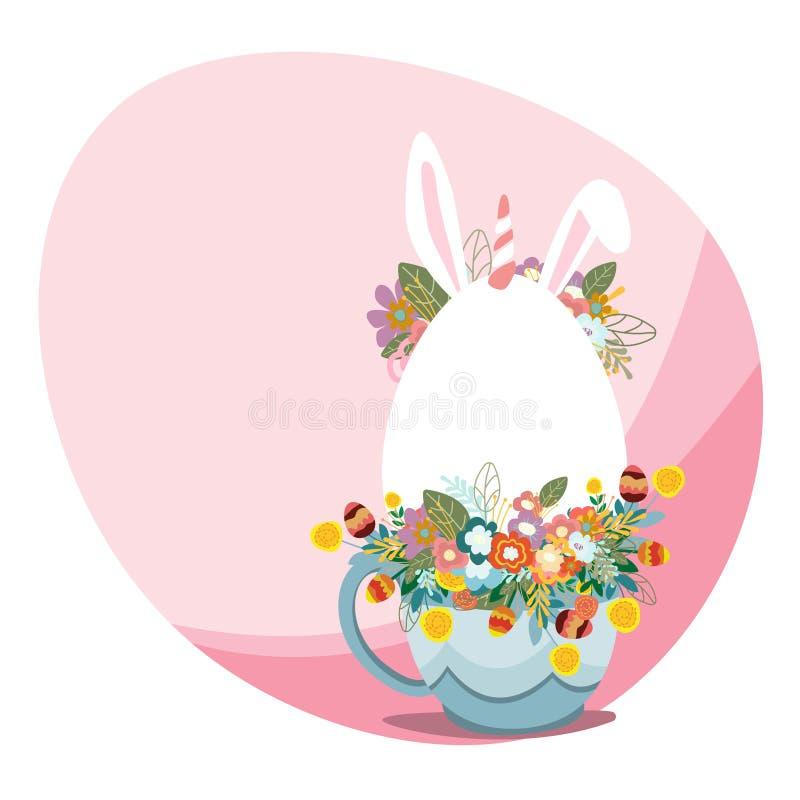 Illustrazione felice di arte di vettore della cartolina d'auguri di Pasqua Progettazione della primavera illustrazione vettoriale