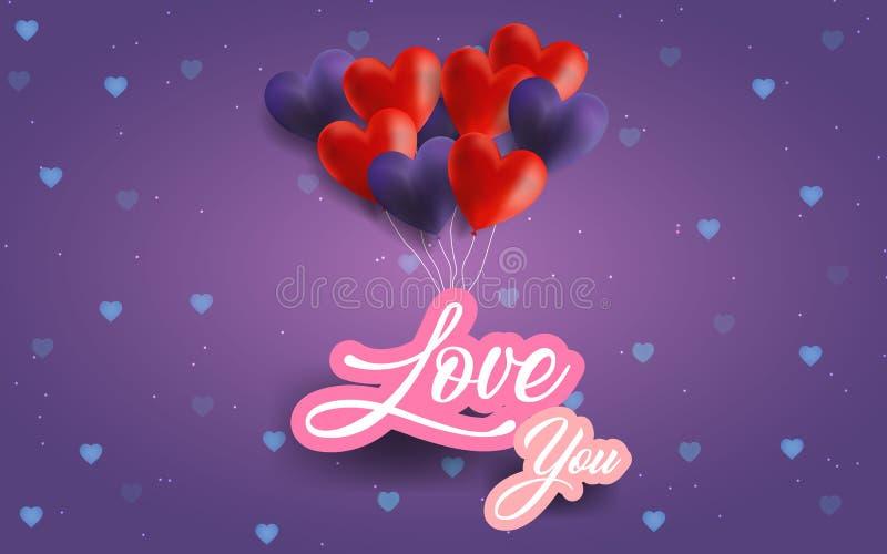 Illustrazione felice di giorno del ` s del biglietto di S. Valentino I cuori porpora e rossi balloons l'amore che highing di spir illustrazione di stock