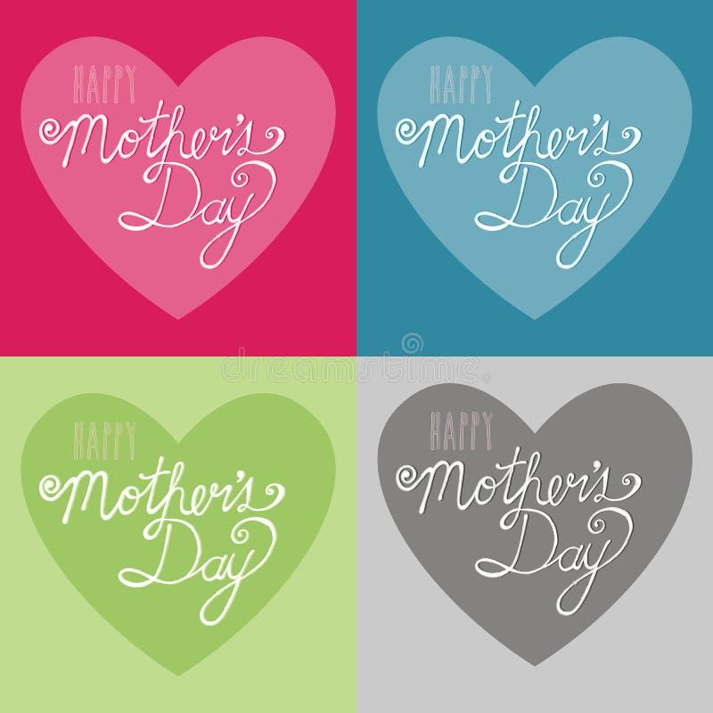 Illustrazione felice di tipografia di giorno del ` s della madre sul fondo del cuore fotografia stock libera da diritti