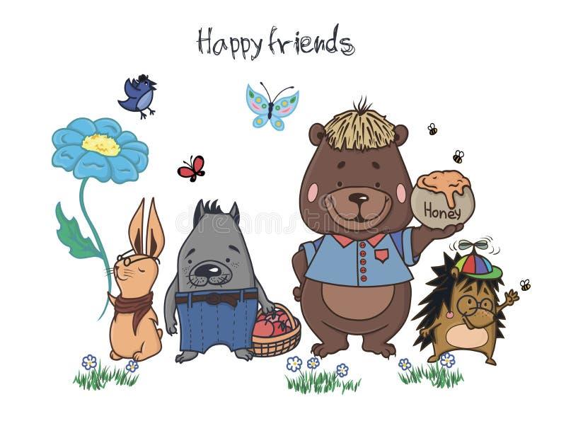 Illustrazione felice di vettore degli amici illustrazione vettoriale