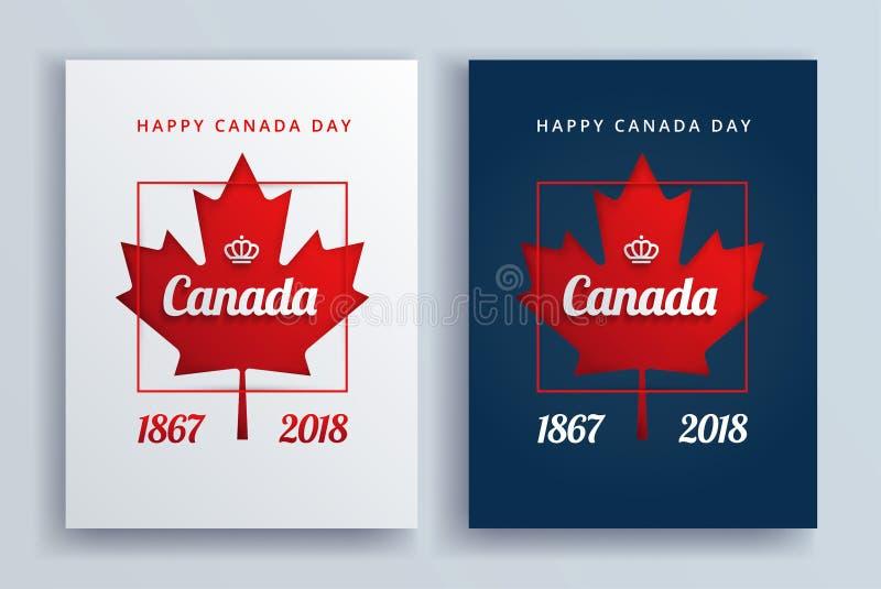 Illustrazione felice di vettore dei manifesti di giorno del Canada illustrazione vettoriale