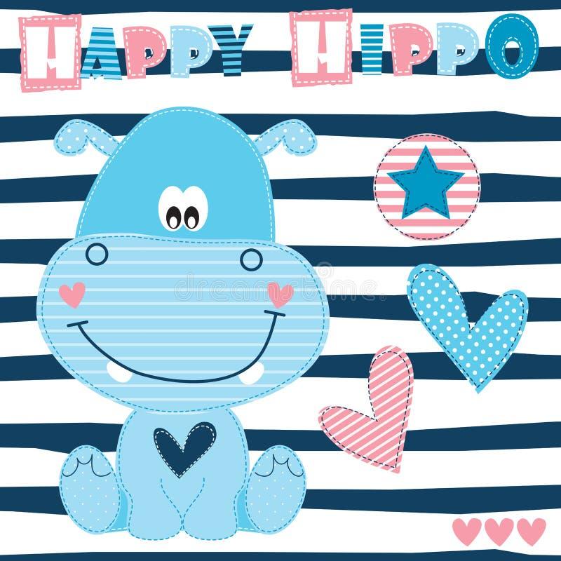 Illustrazione felice di vettore dell'ippopotamo royalty illustrazione gratis